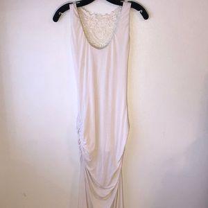 Sky-White Crochet Maxi Dress w/2 Slit S